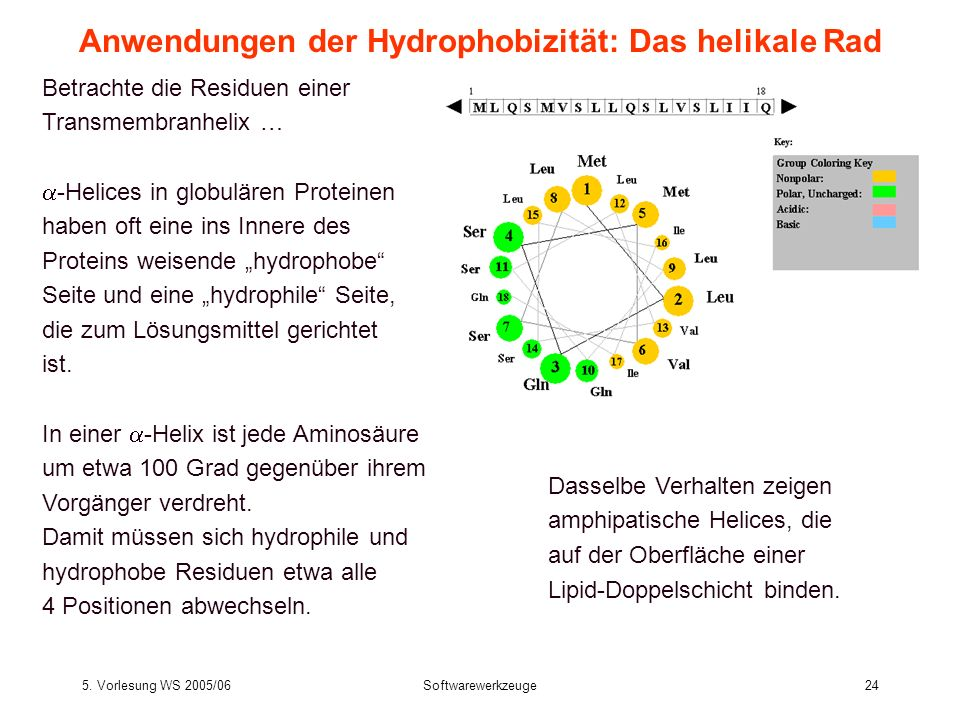 Anwendungen der Hydrophobizität: Das helikale Rad