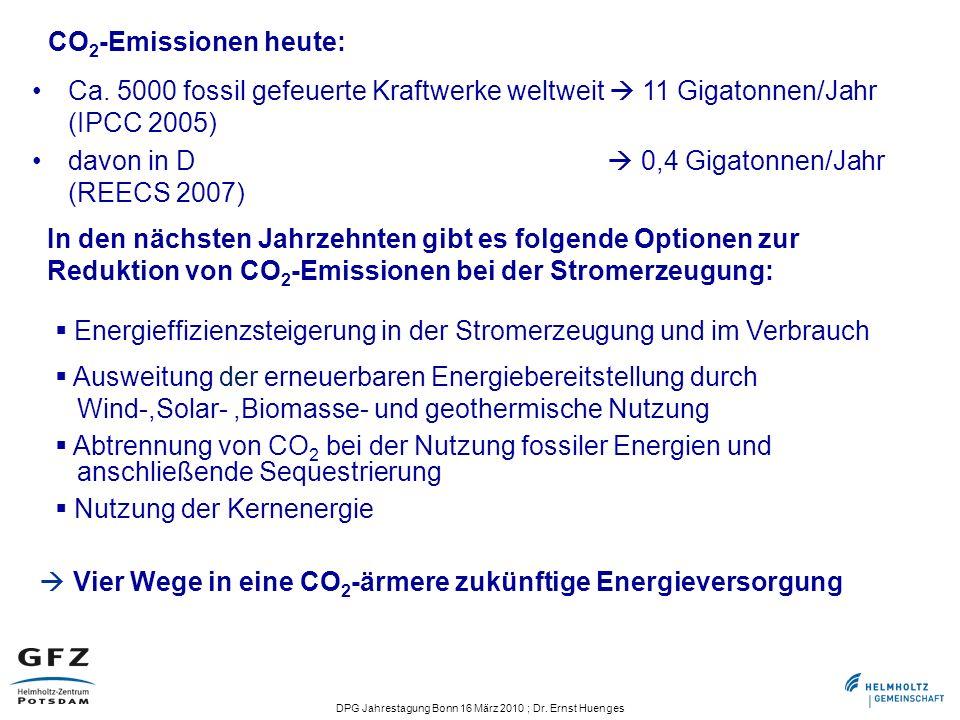 CO2-Emissionen heute: Ca. 5000 fossil gefeuerte Kraftwerke weltweit  11 Gigatonnen/Jahr (IPCC 2005)