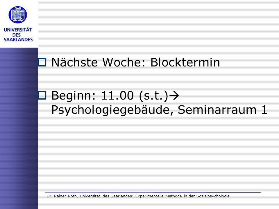 Nächste Woche: Blocktermin