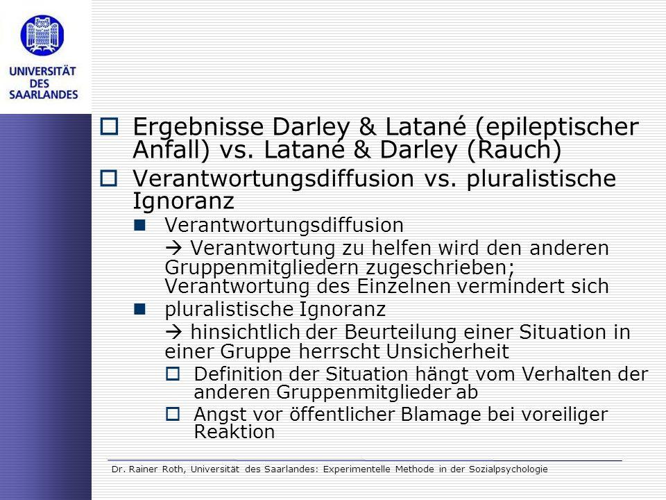 Ergebnisse Darley & Latané (epileptischer Anfall) vs