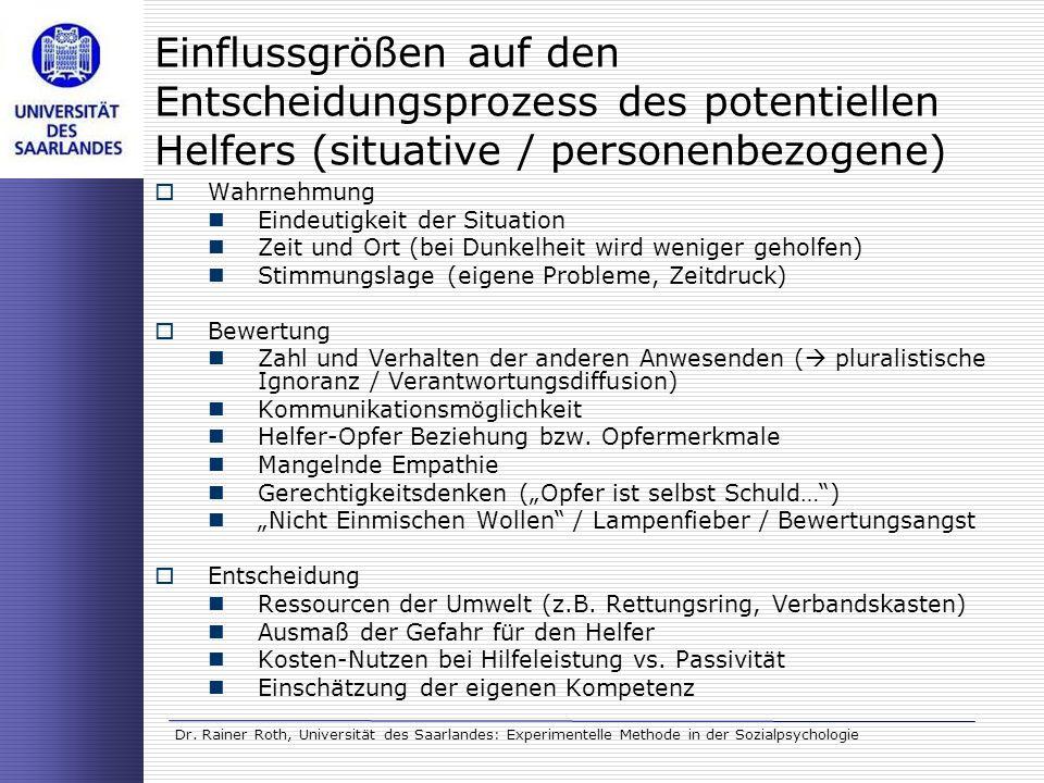 Einflussgrößen auf den Entscheidungsprozess des potentiellen Helfers (situative / personenbezogene)