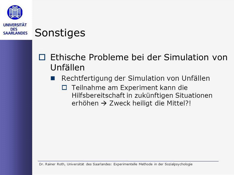 Sonstiges Ethische Probleme bei der Simulation von Unfällen