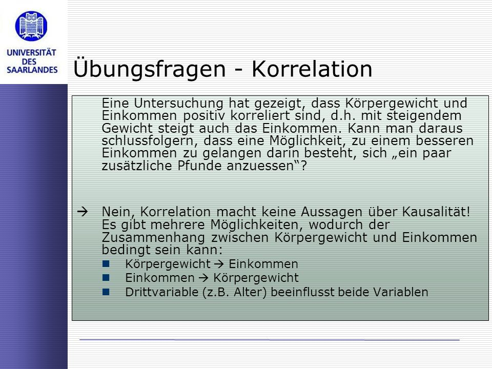 Übungsfragen - Korrelation