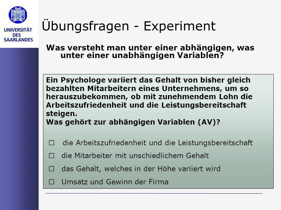 Übungsfragen - Experiment