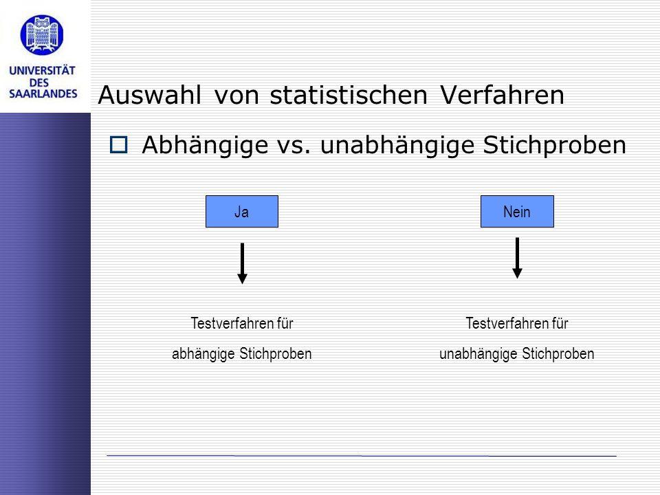 Auswahl von statistischen Verfahren