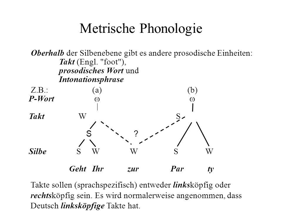 Metrische Phonologie Oberhalb der Silbenebene gibt es andere prosodische Einheiten: Takt (Engl. foot ),