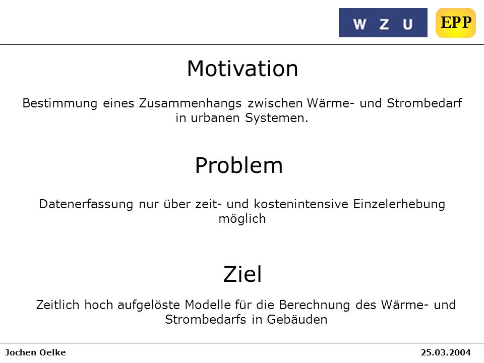Motivation Problem Ziel