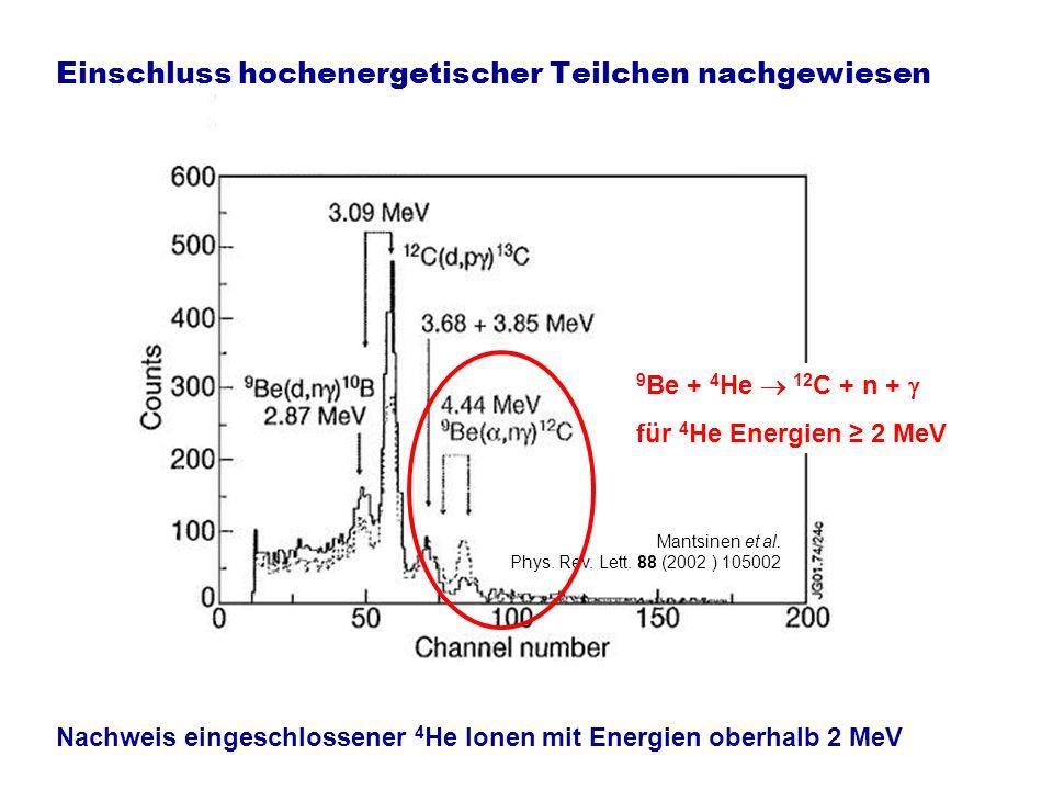 Einschluss hochenergetischer Teilchen nachgewiesen