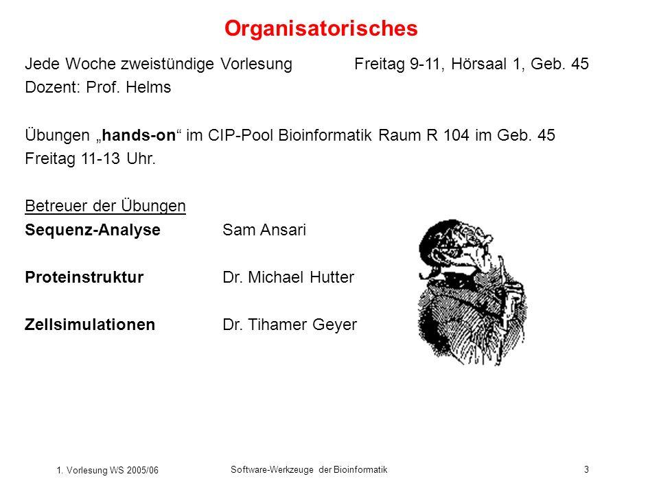 Organisatorisches Jede Woche zweistündige Vorlesung Freitag 9-11, Hörsaal 1, Geb. 45. Dozent: Prof. Helms.