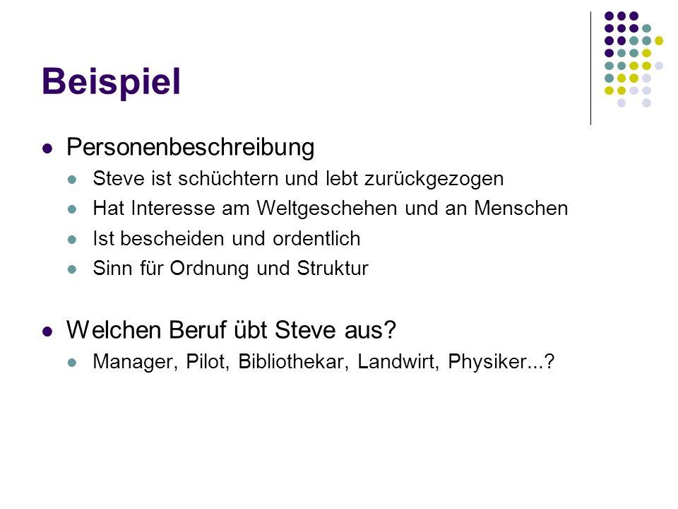 Beispiel Personenbeschreibung Welchen Beruf übt Steve aus