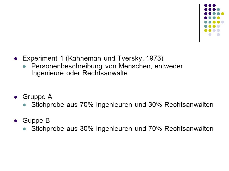 Experiment 1 (Kahneman und Tversky, 1973)