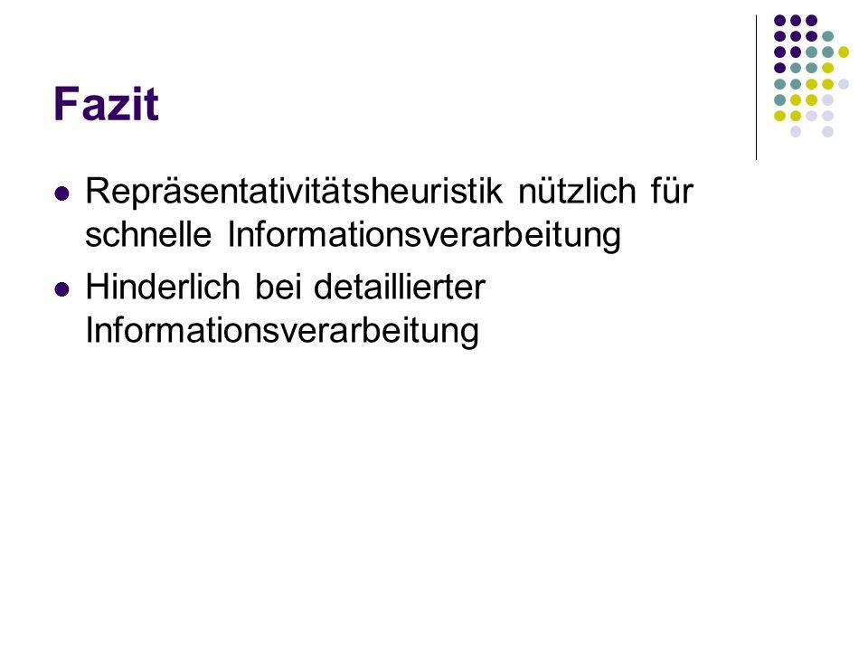 FazitRepräsentativitätsheuristik nützlich für schnelle Informationsverarbeitung.