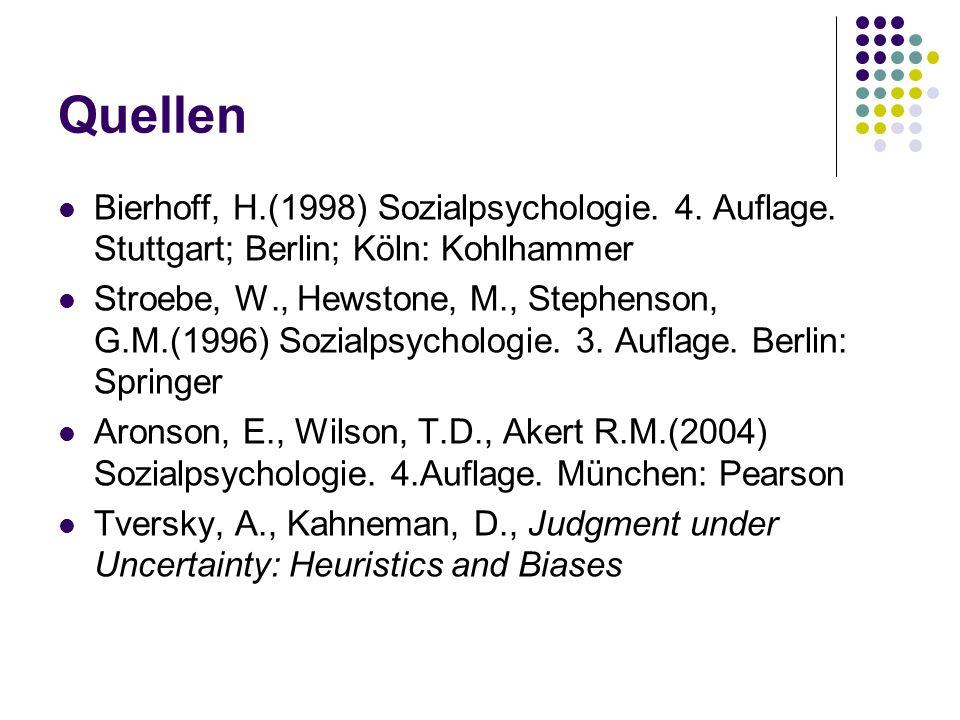 Quellen Bierhoff, H.(1998) Sozialpsychologie. 4. Auflage. Stuttgart; Berlin; Köln: Kohlhammer.