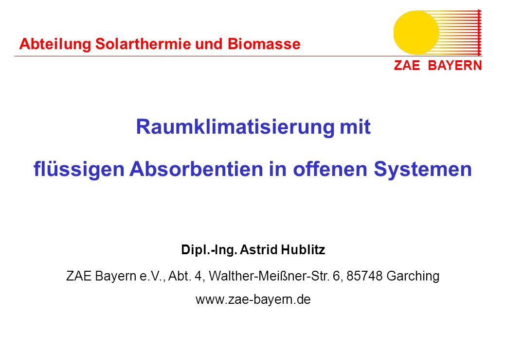 Raumklimatisierung mit Dipl.-Ing. Astrid Hublitz