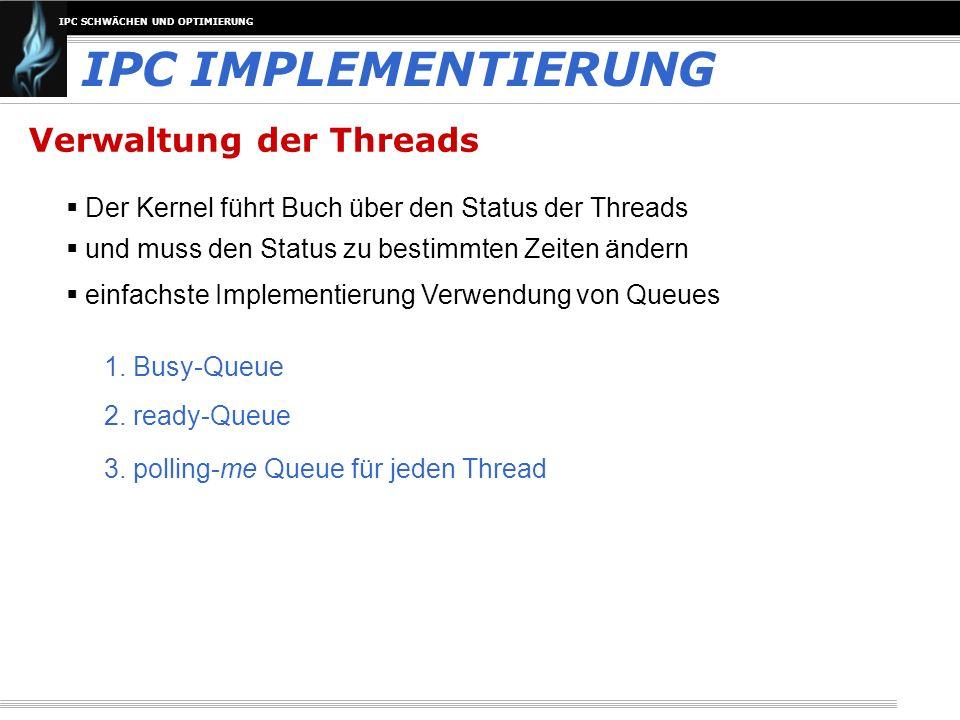 IPC IMPLEMENTIERUNG Verwaltung der Threads