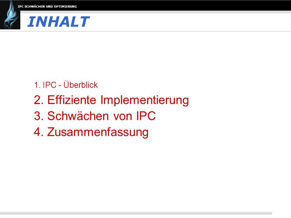 INHALT 2. Effiziente Implementierung 3. Schwächen von IPC