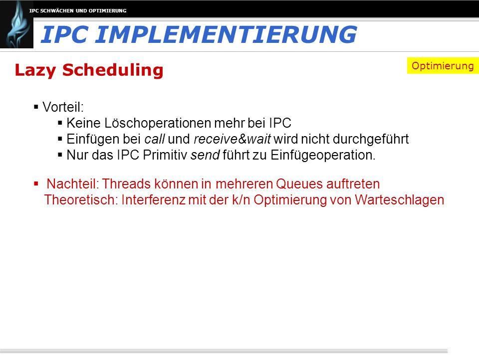 IPC IMPLEMENTIERUNG Lazy Scheduling Vorteil: