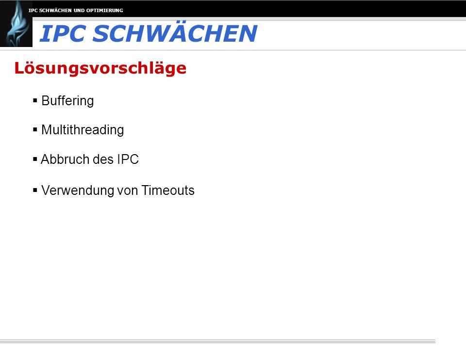IPC SCHWÄCHEN Lösungsvorschläge Buffering Multithreading