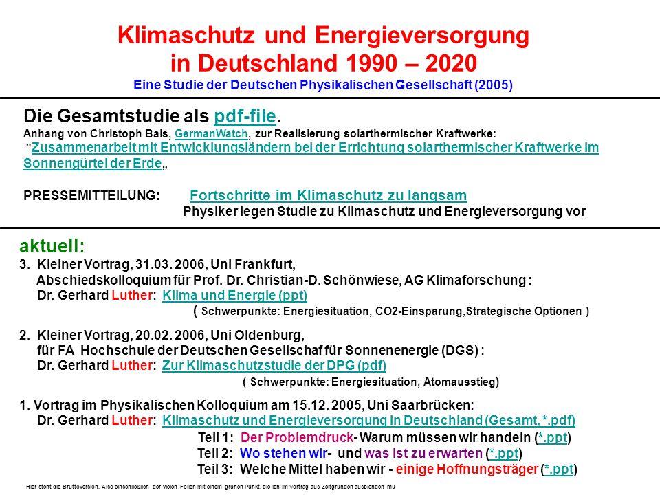 Klimaschutz und Energieversorgung in Deutschland 1990 – 2020