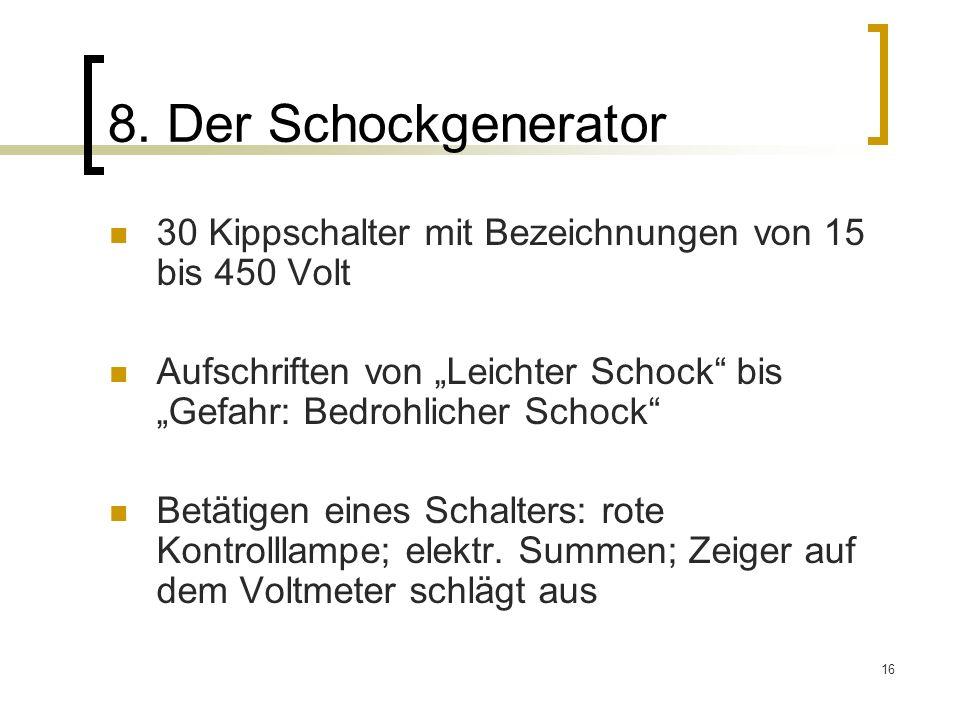 """8. Der Schockgenerator 30 Kippschalter mit Bezeichnungen von 15 bis 450 Volt. Aufschriften von """"Leichter Schock bis """"Gefahr: Bedrohlicher Schock"""