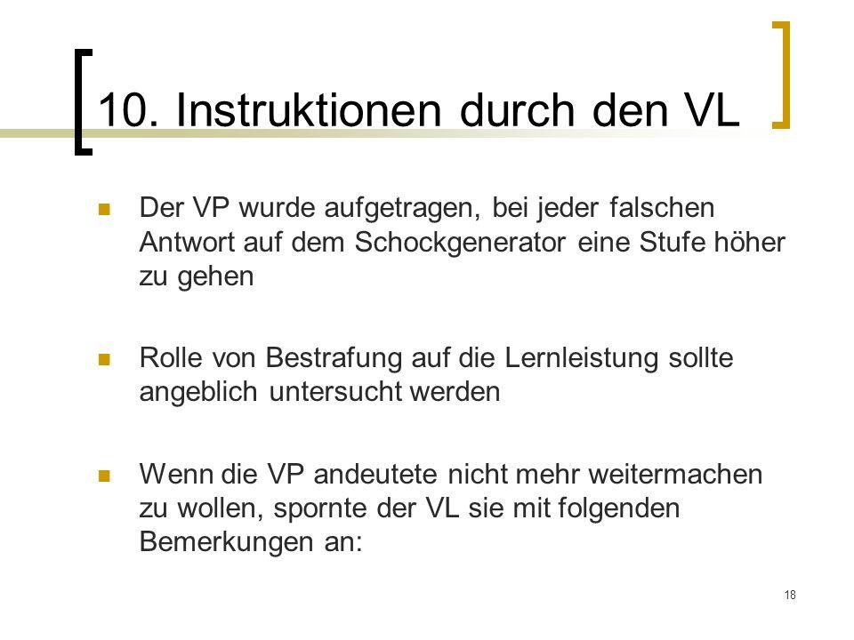 10. Instruktionen durch den VL
