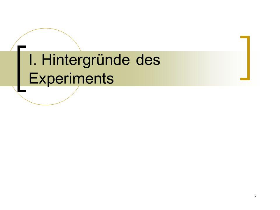 Ⅰ. Hintergründe des Experiments