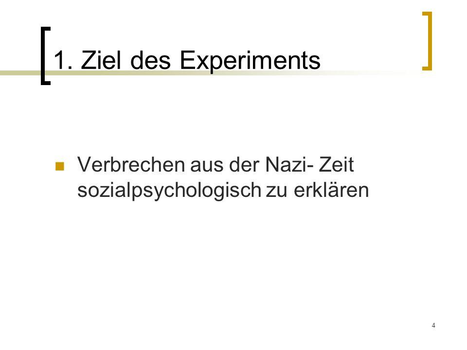 1. Ziel des Experiments Verbrechen aus der Nazi- Zeit sozialpsychologisch zu erklären