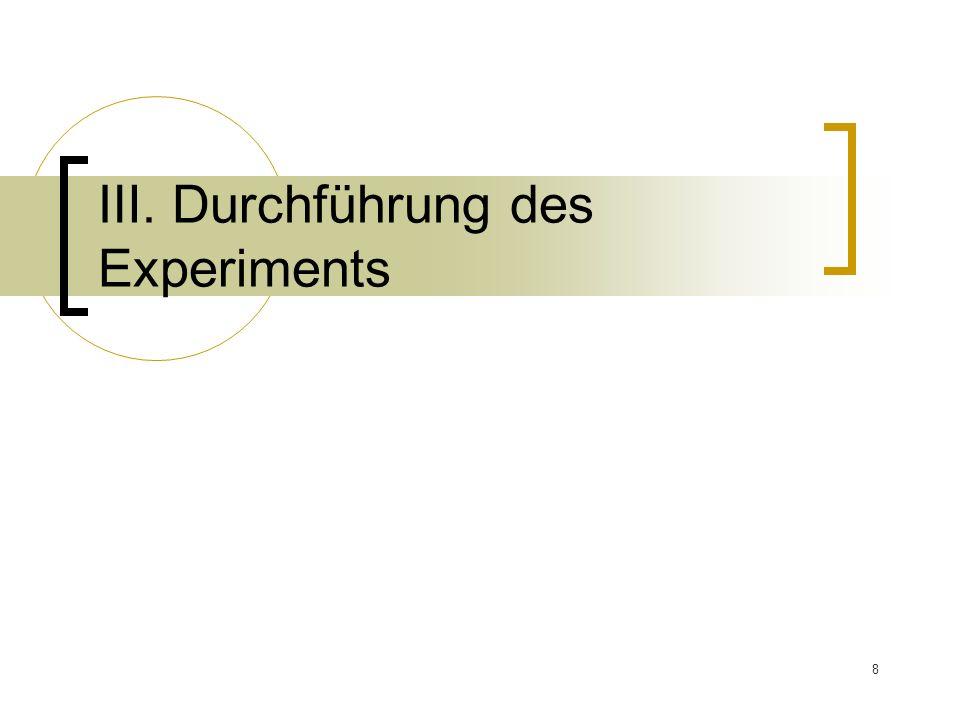 Ⅲ. Durchführung des Experiments