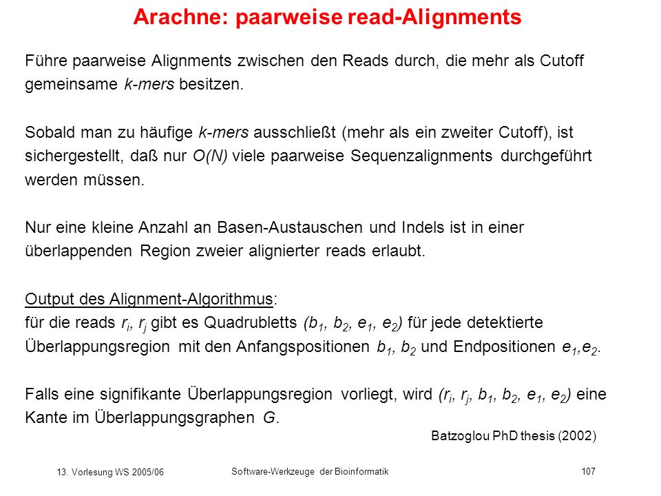 Arachne: paarweise read-Alignments