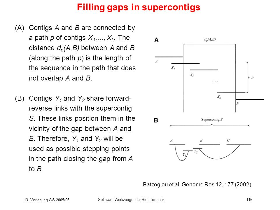 Filling gaps in supercontigs