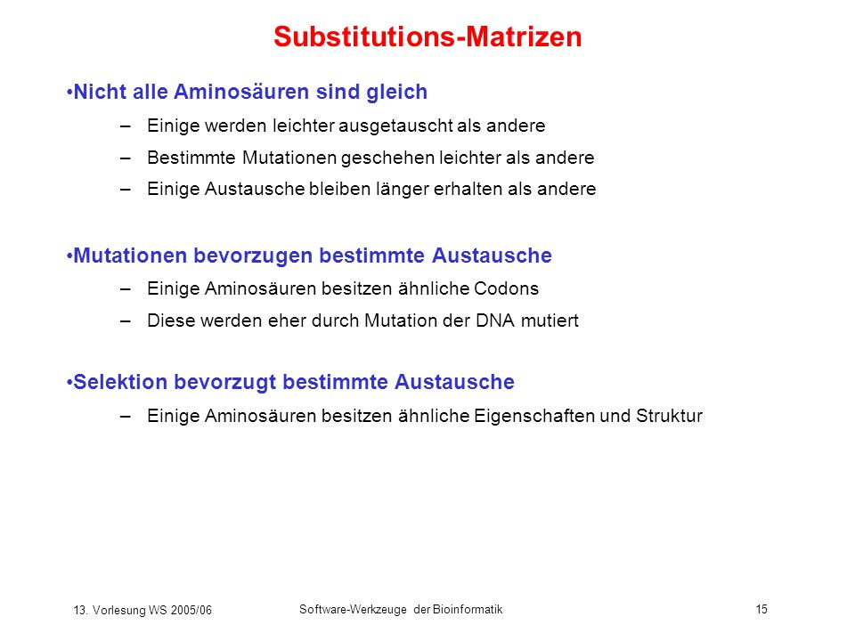 Substitutions-Matrizen