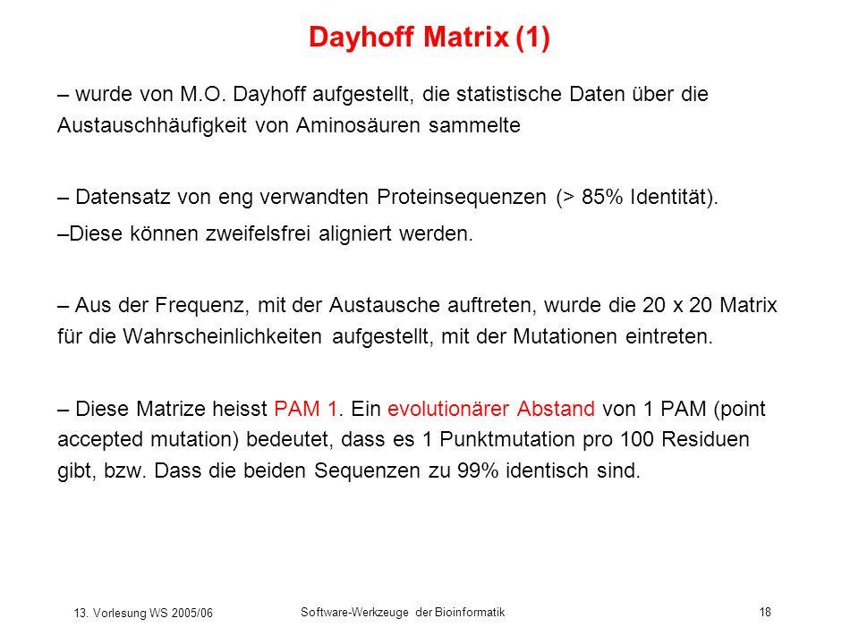 Dayhoff Matrix (1) wurde von M.O. Dayhoff aufgestellt, die statistische Daten über die Austauschhäufigkeit von Aminosäuren sammelte.