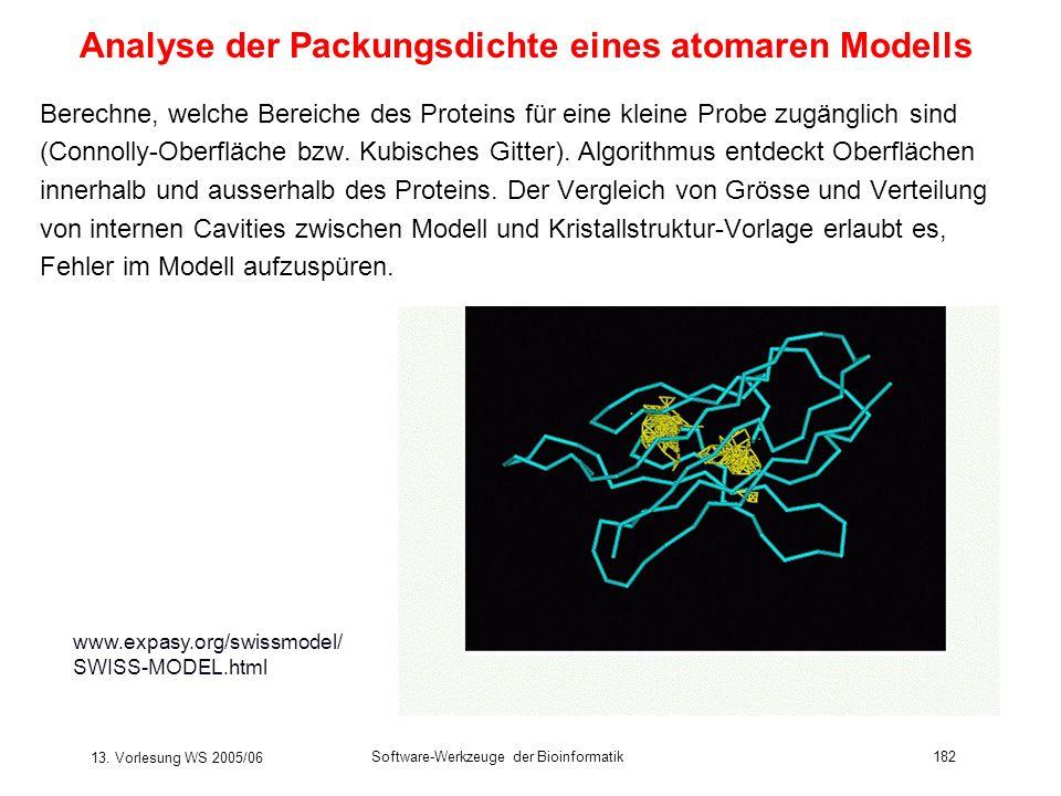 Analyse der Packungsdichte eines atomaren Modells