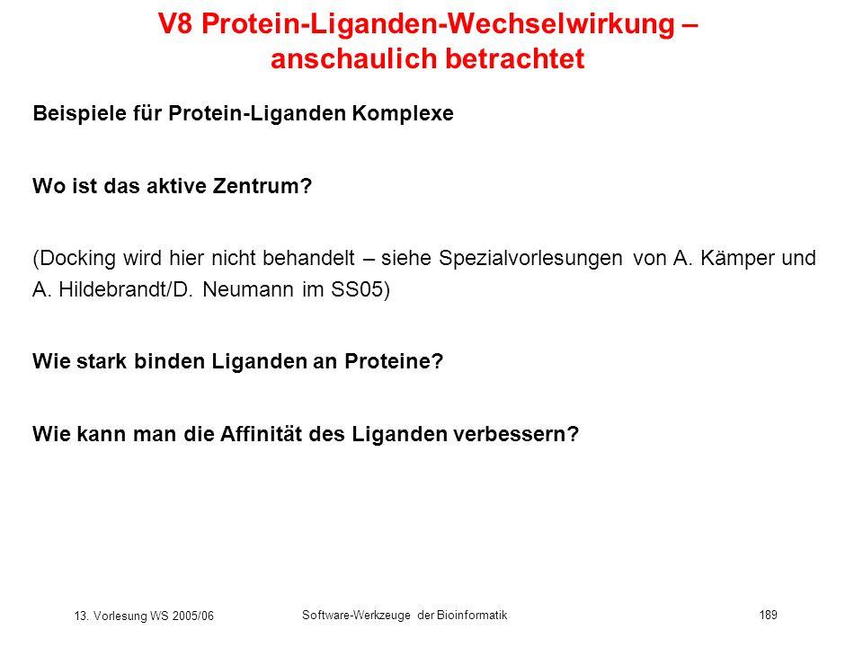 V8 Protein-Liganden-Wechselwirkung – anschaulich betrachtet