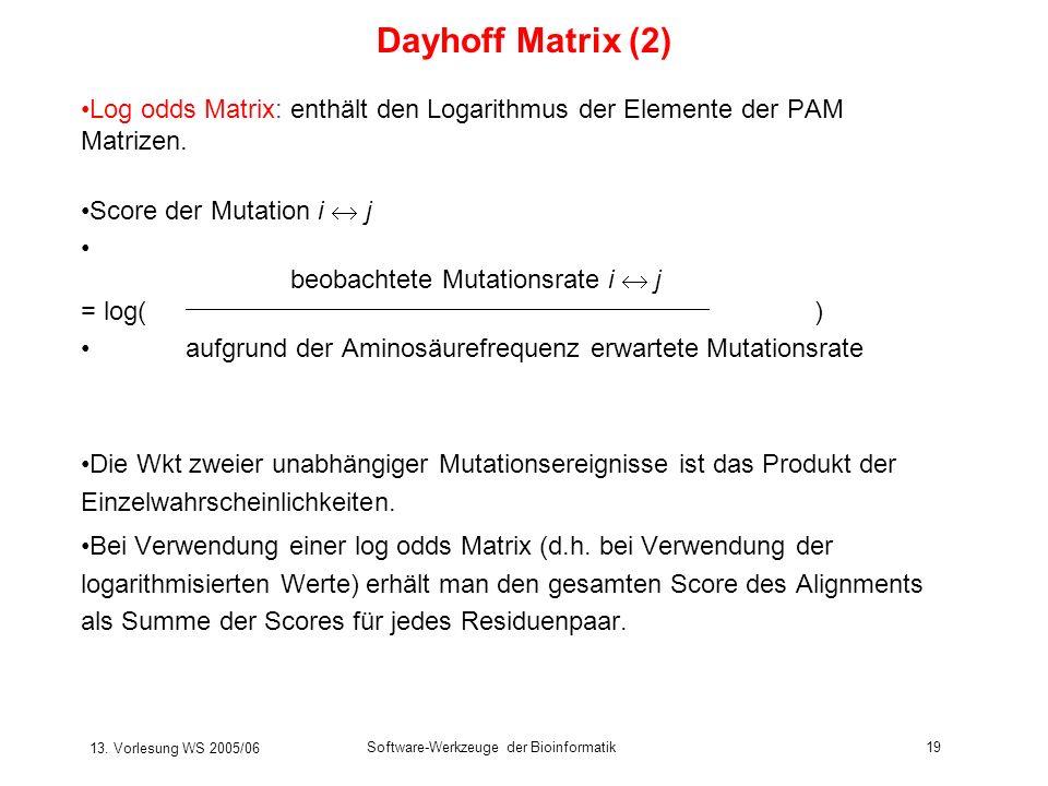 Dayhoff Matrix (2) Log odds Matrix: enthält den Logarithmus der Elemente der PAM Matrizen. Score der Mutation i  j.