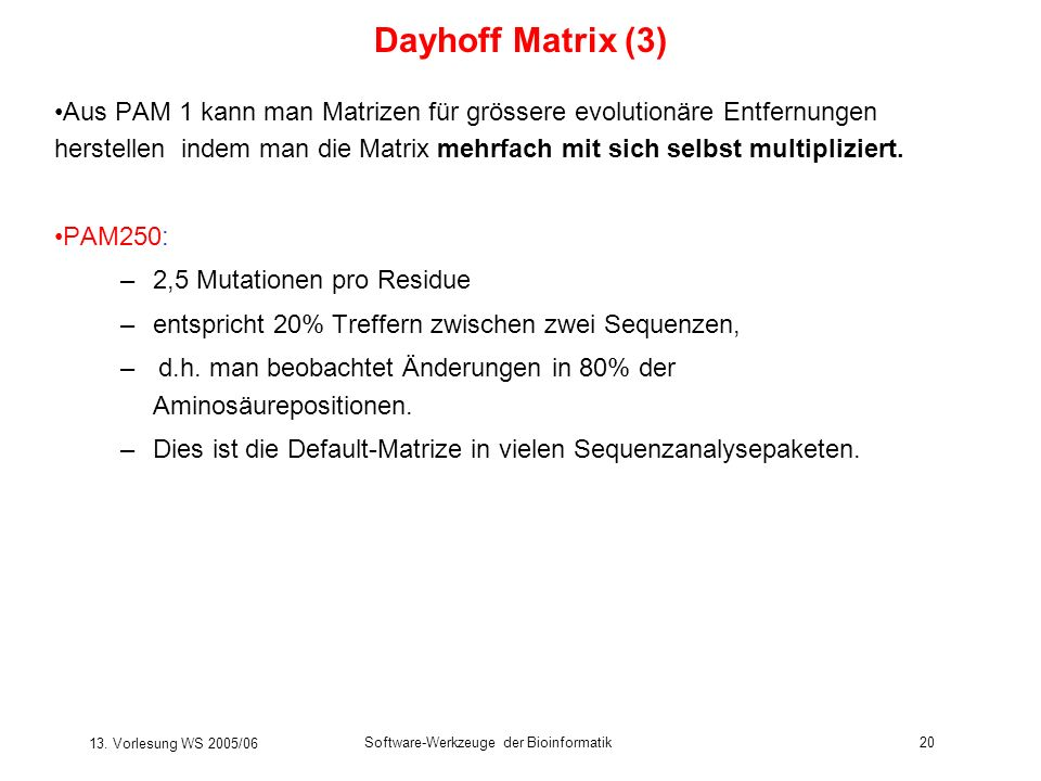 Dayhoff Matrix (3)