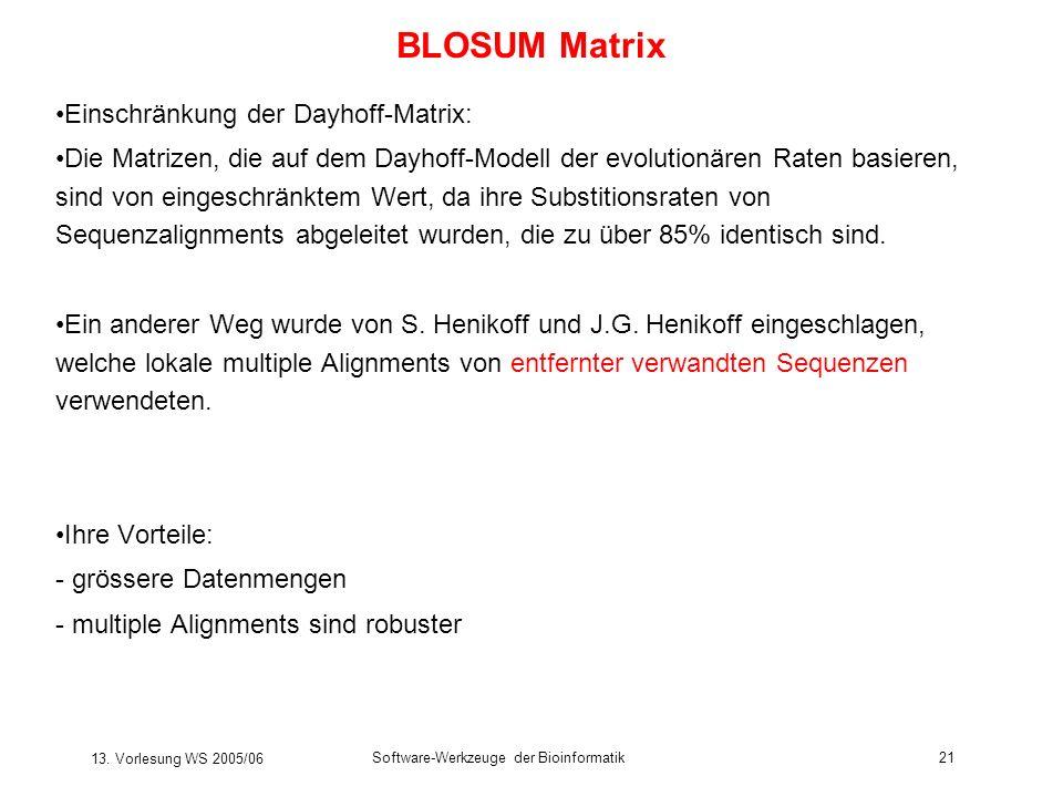 BLOSUM Matrix Einschränkung der Dayhoff-Matrix: