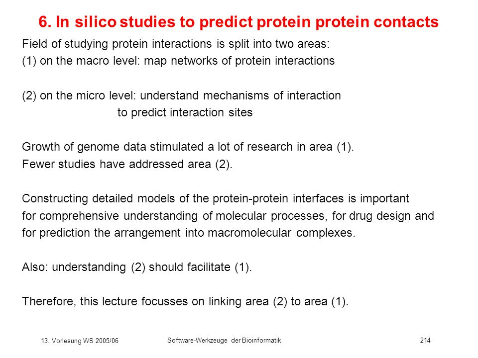 6. In silico studies to predict protein protein contacts