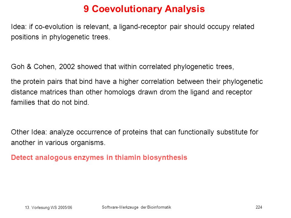 9 Coevolutionary Analysis