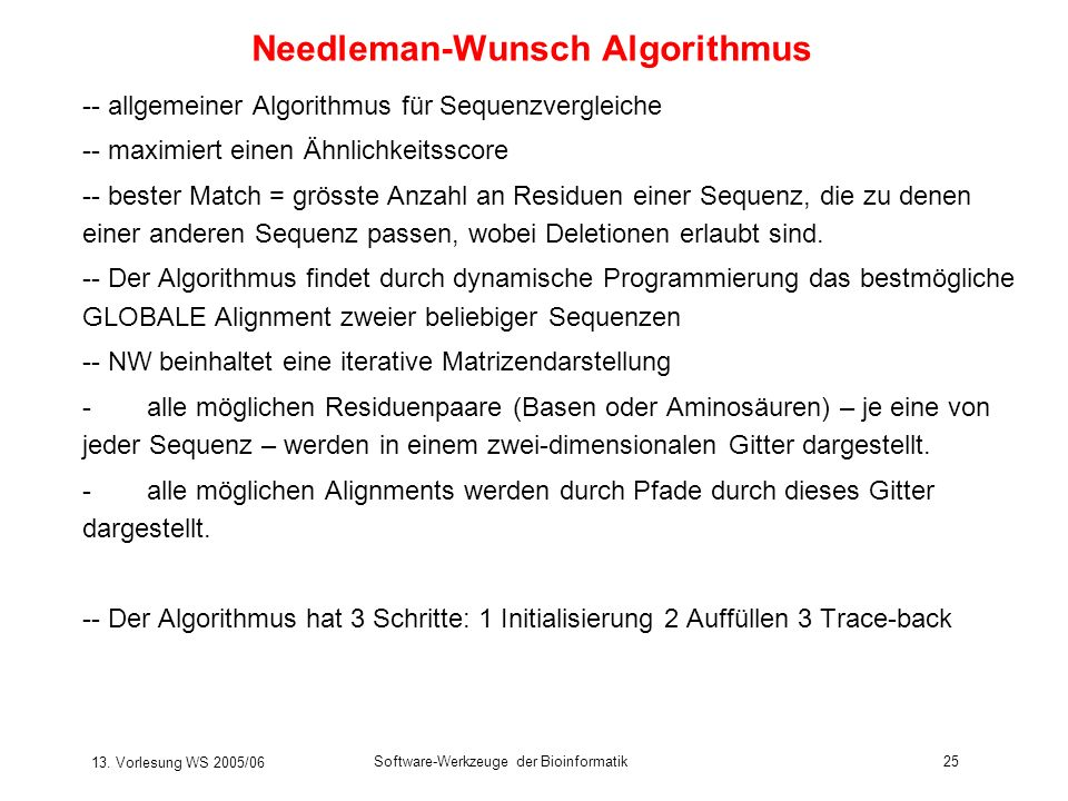 Needleman-Wunsch Algorithmus