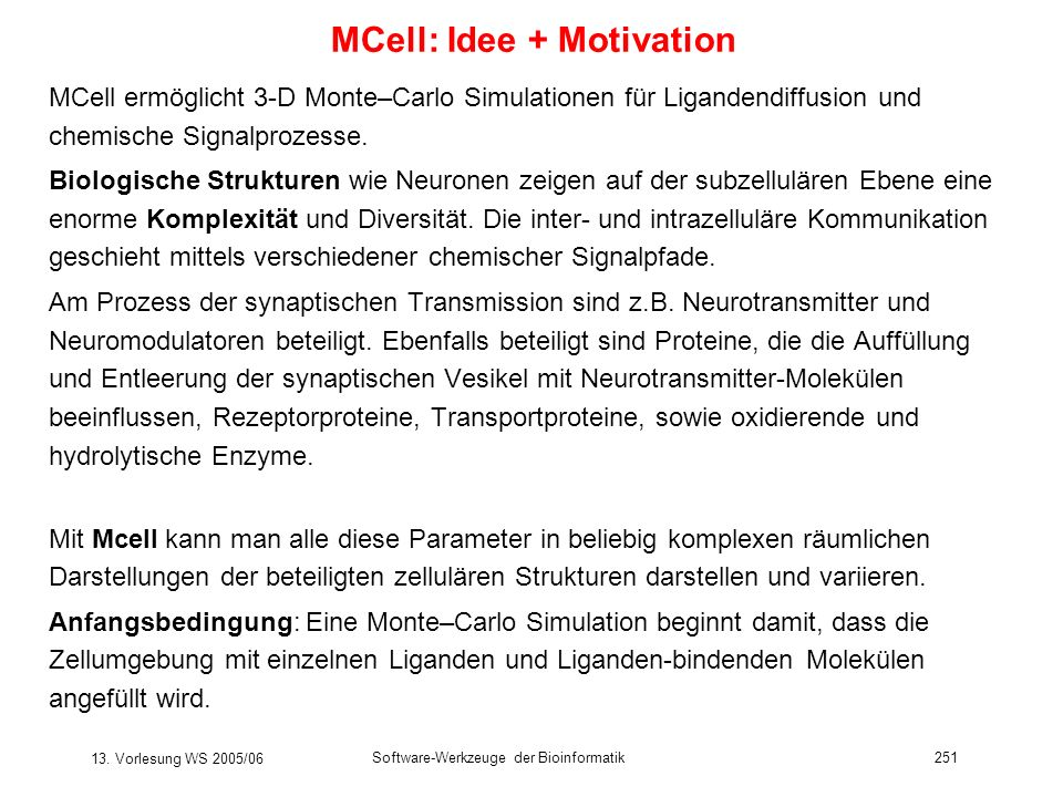 MCell: Idee + Motivation