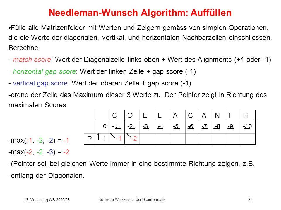 Needleman-Wunsch Algorithm: Auffüllen