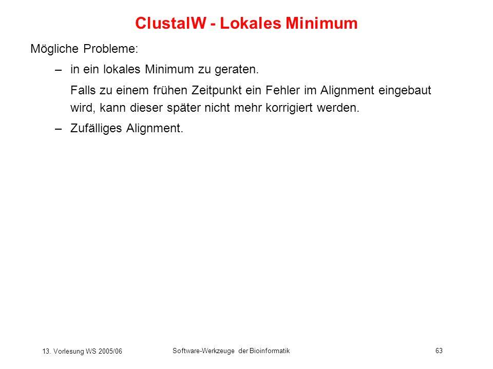 ClustalW - Lokales Minimum