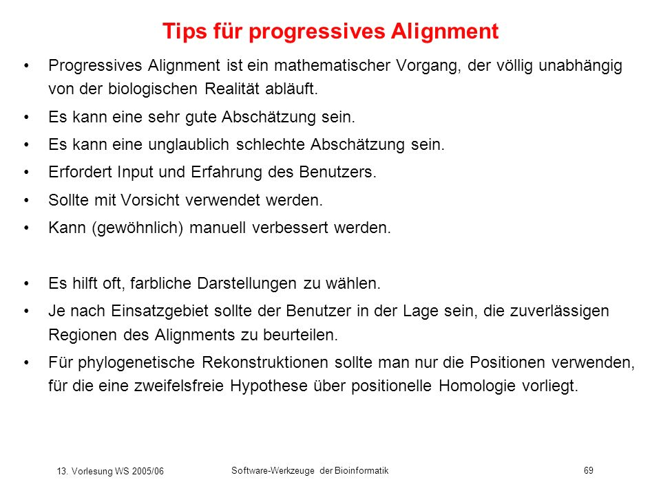 Tips für progressives Alignment