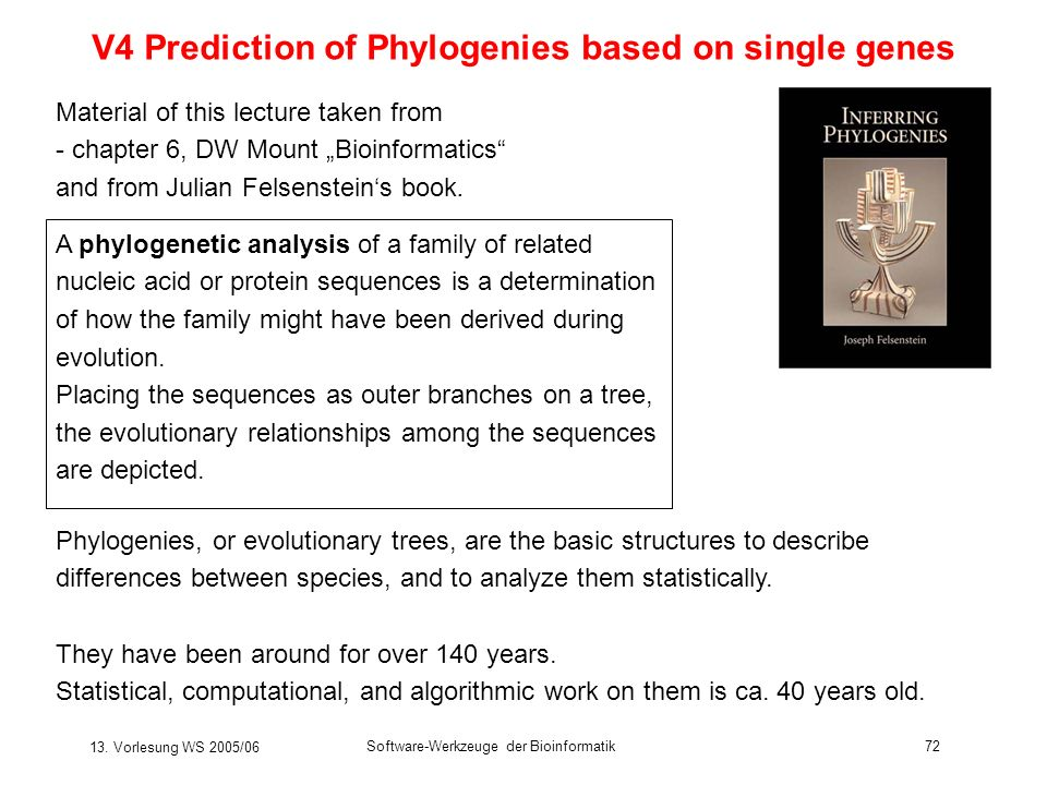 V4 Prediction of Phylogenies based on single genes