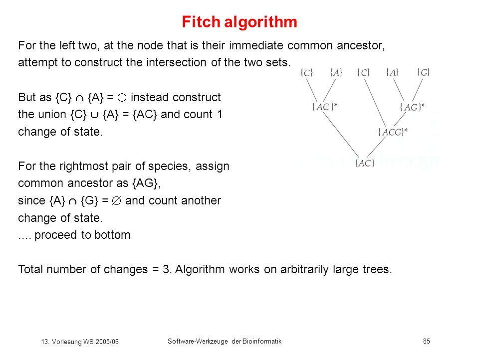 Fitch algorithm For the left two, at the node that is their immediate common ancestor, attempt to construct the intersection of the two sets.