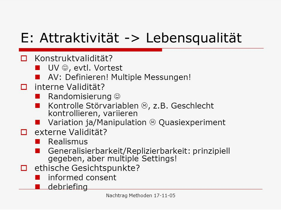 E: Attraktivität -> Lebensqualität