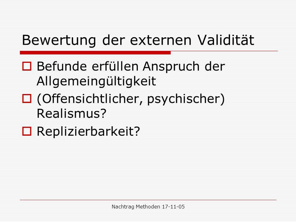Bewertung der externen Validität