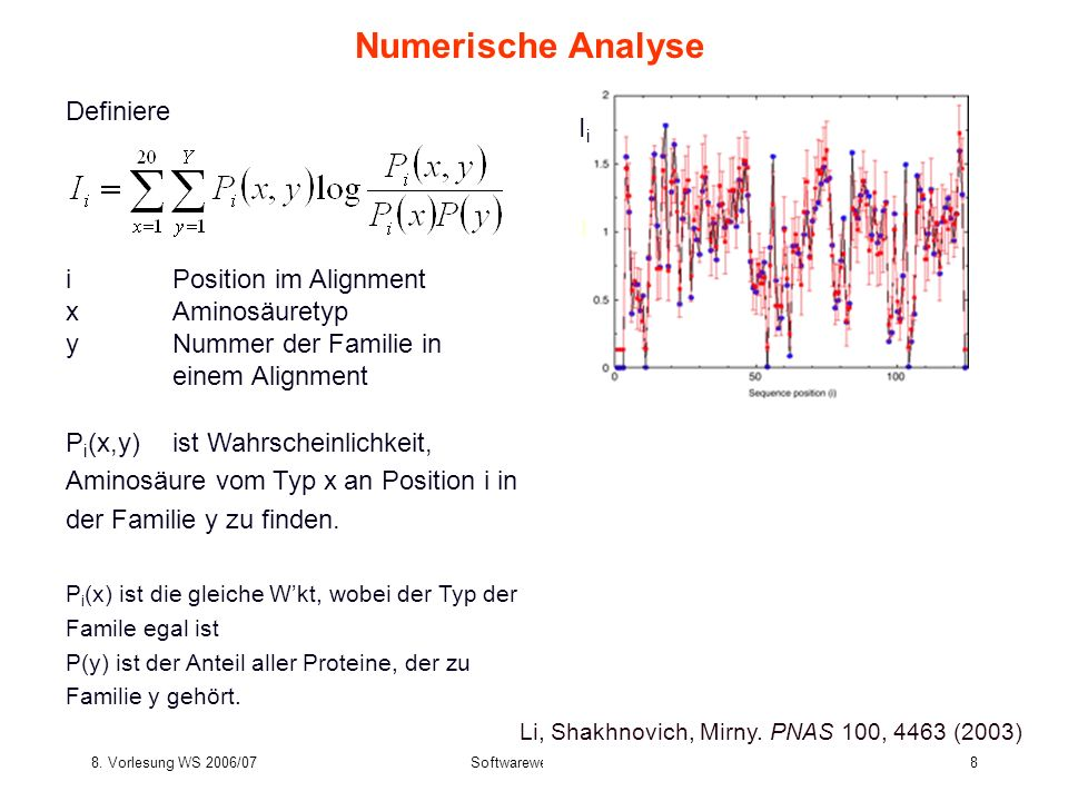 Numerische Analyse Definiere Ii i Position im Alignment