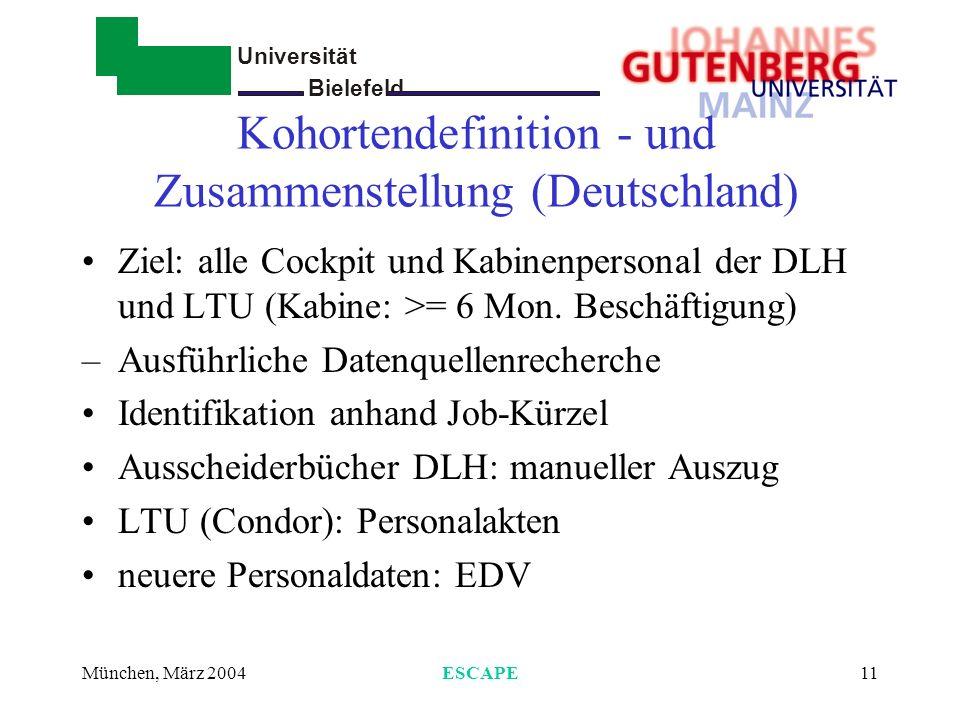 Kohortendefinition - und Zusammenstellung (Deutschland)